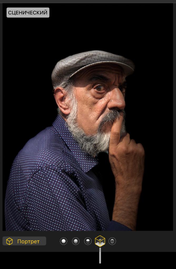 Портретная фотография с постановочным освещением, которое создает черный фон.