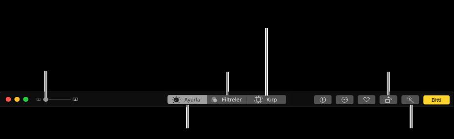 Ayarlamalar yapma, filtreler ekleme ve fotoğrafları kırpma düğmelerini gösteren Düzen araç çubuğu.