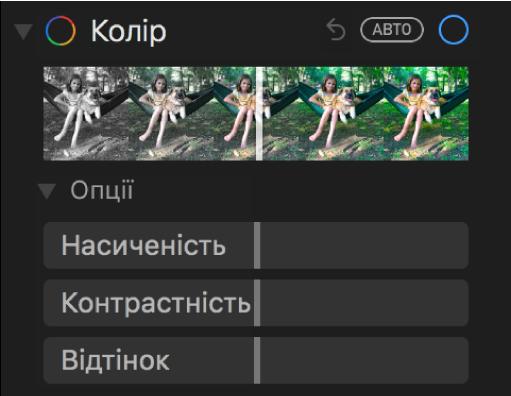 Ділянка «Колір» панелі «Коригувати» з повзунками «Насиченість», «Контрастність» і «Відтінок».
