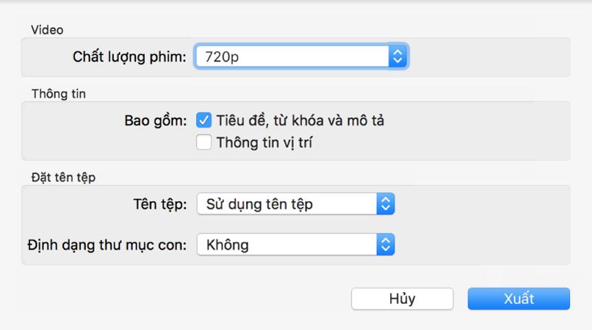 Một hộp thoại đang hiển thị tùy chọn xuất tệp video.