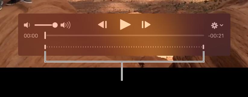 影片剪輯片段中的慢動作控制項目。