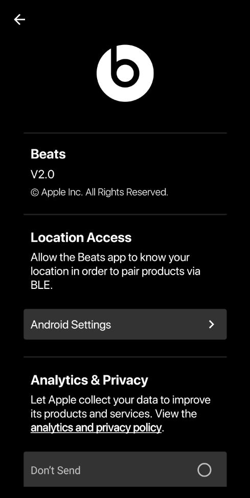 Beats app settings showing Beats app version, Location Access settings, and Analytics and Privacy settings