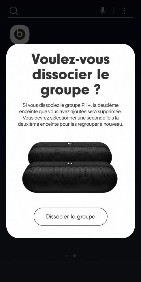 App Beats affichant l'option «Supprimer le groupe» d'une fiche