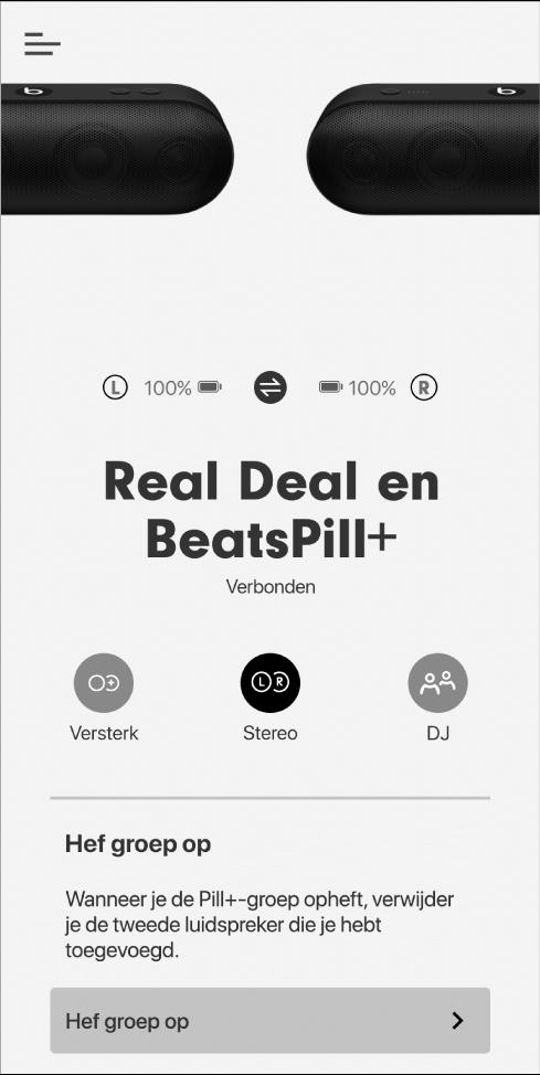Het scherm van de Beats-app in de stereomodus