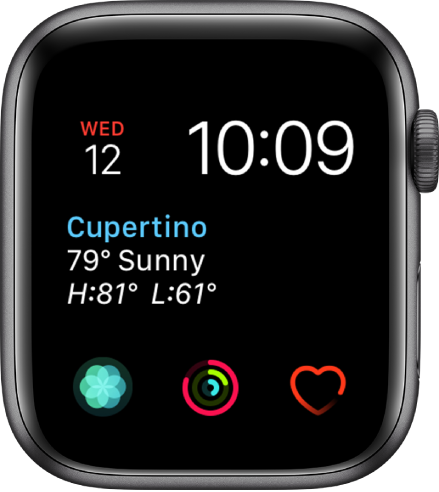 The Modular watch face, where you can adjust the color of the watch face. It shows three subdial complications along the bottom: Breathe, Activity, and Heart Rate.