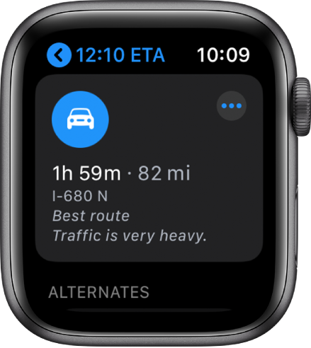 The Maps app showing a suggested route with the estimated distance of the route and the time it will take to arrive at the destination. A More button appears near the top right.