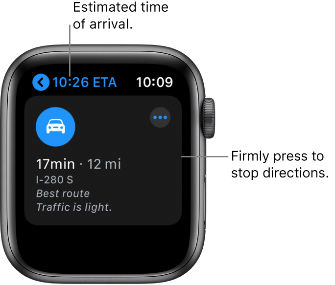 """The Maps app showing the estimated time of arrival at the top left, the address below, the number of minutes it will take to arrive at the destination, the route's distance in miles, and the words """"Traffic is light."""" A callout points to the screen and reads, """"Firmly press to stop directions."""""""