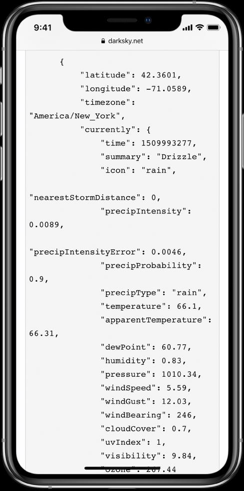 مثال لبيانات JSON.