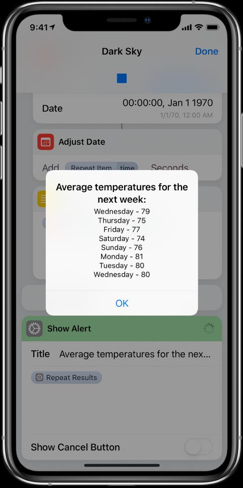تنبيه ناتج يعرض متوسط درجات الحرارة على مدار الأسبوع في محرر الاختصارات.