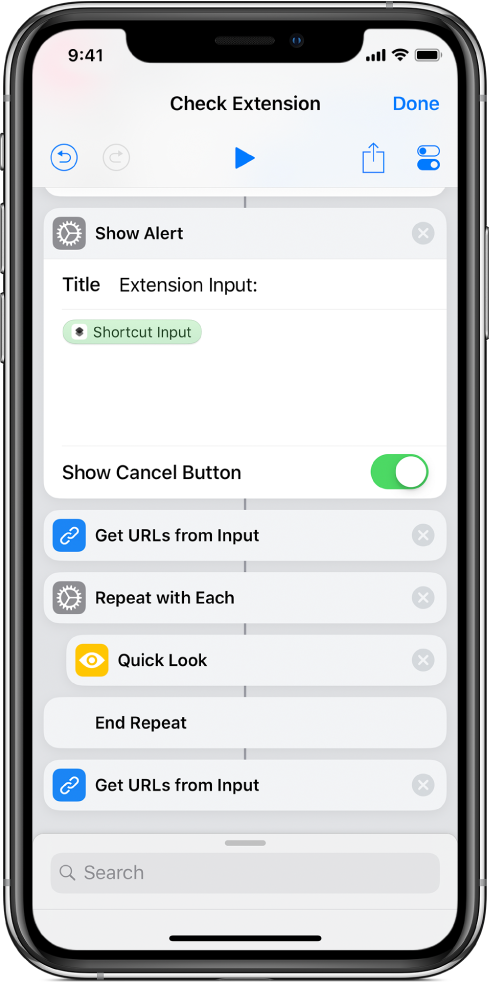 Show alert action in the shortcut editor.