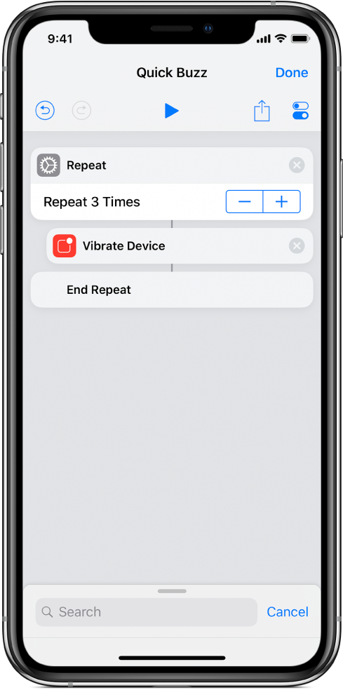 Vibrate Device action set to repeat three times.