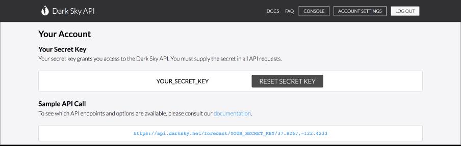 Dark Sky Secret Key.