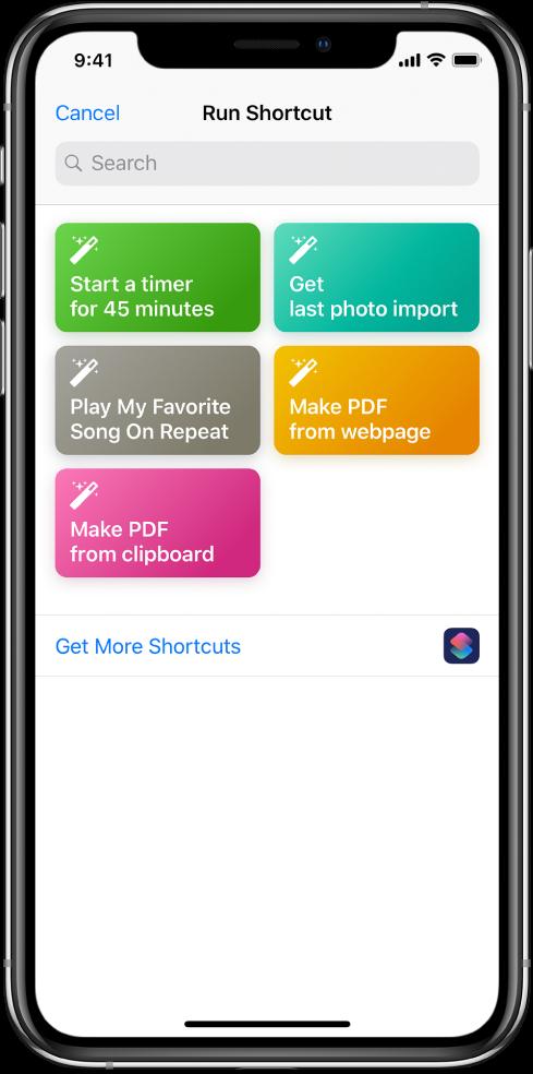 Run Shortcut screen showing available shortcuts.