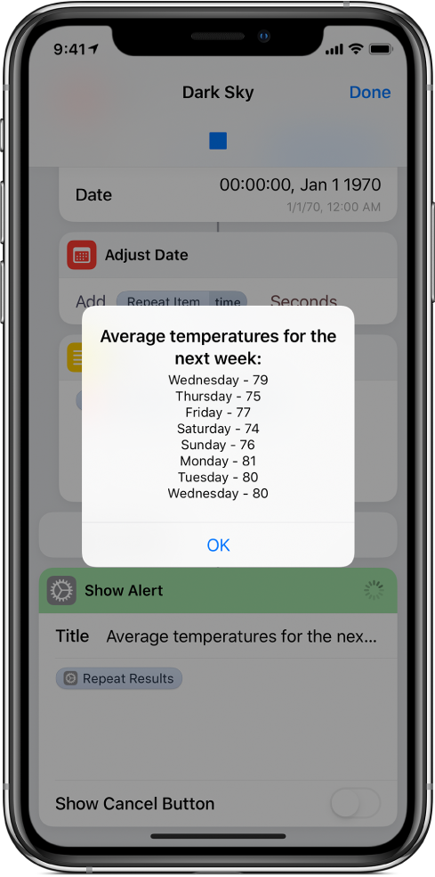 Resulting alert showing the average temperatures for the week, in shortcut editor.