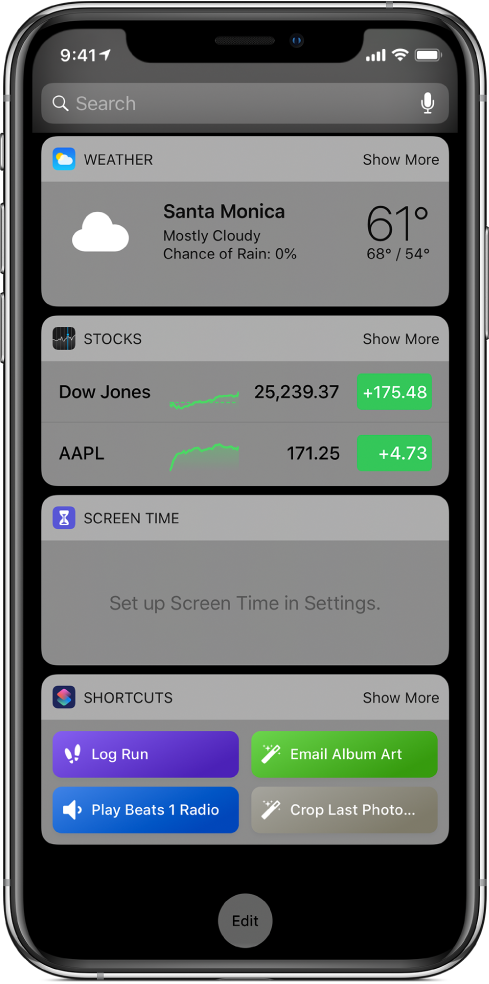 Shortcuts widget in Today View on iPhone.
