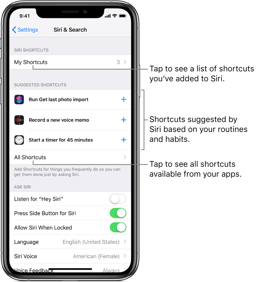 Suggested shortcuts in Settings.