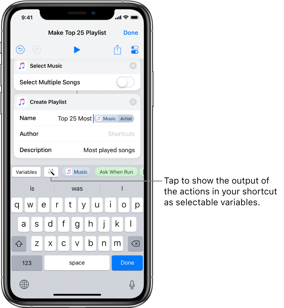 Make Top 25 Playlist shortcut screen showing Variables and Magic Variable buttons above the iOS keyboard.