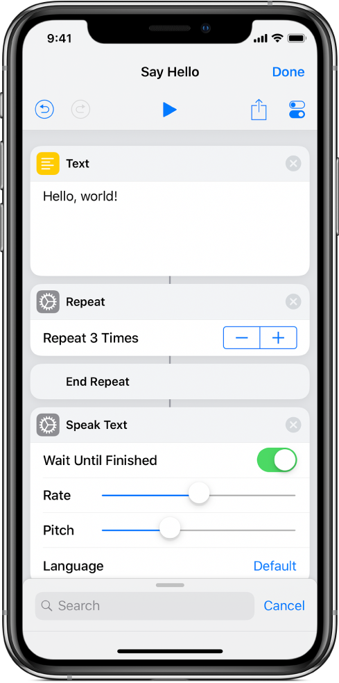 Text action followed by Repeat action set to loop three times.