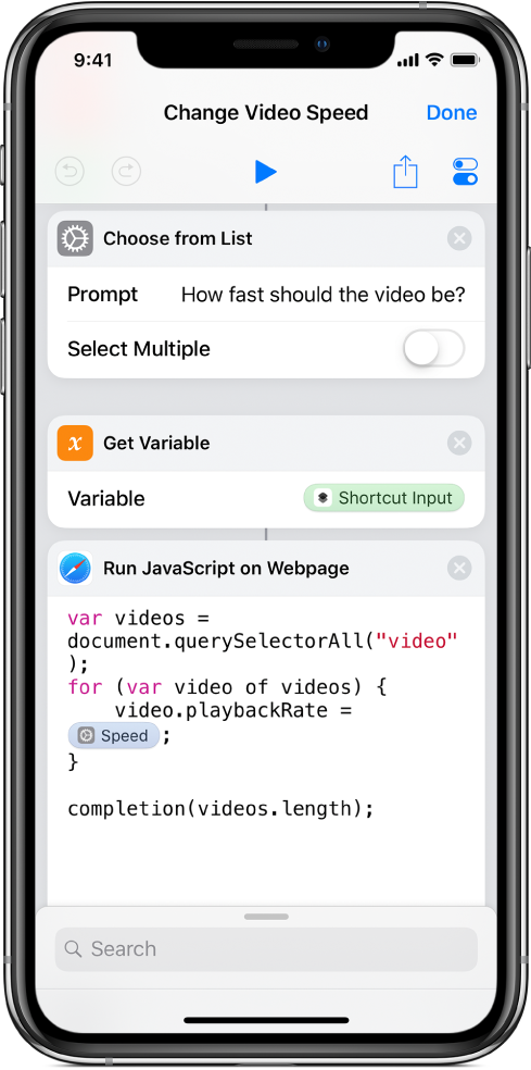 The shortcut editor showing a Run JavaScript on Webpage action containing a Magic Variable.