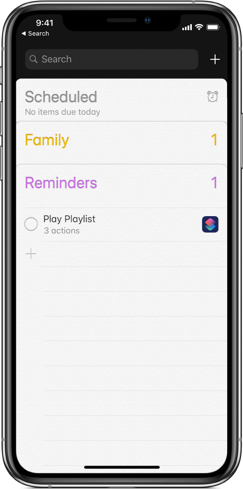 Reminders app showing the new shortcut reminder.