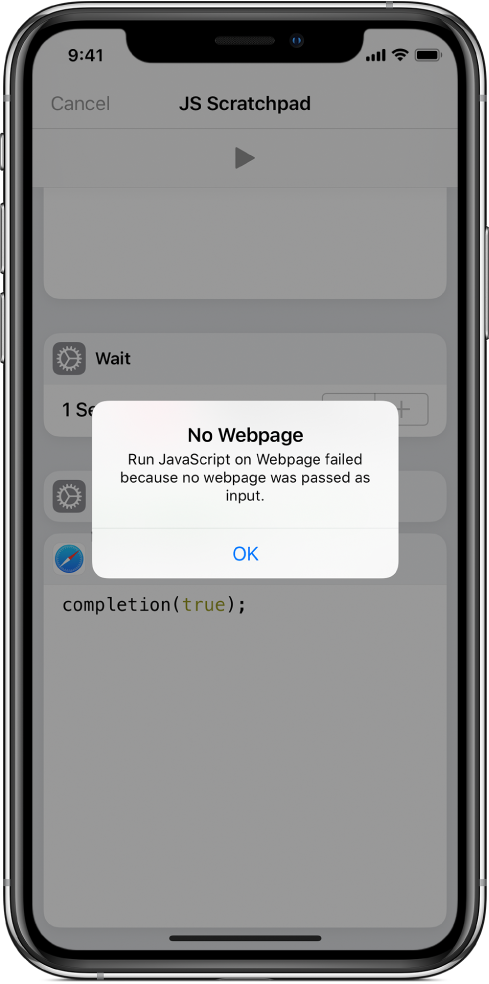 The shortcut editor showing a No Webpage error message.