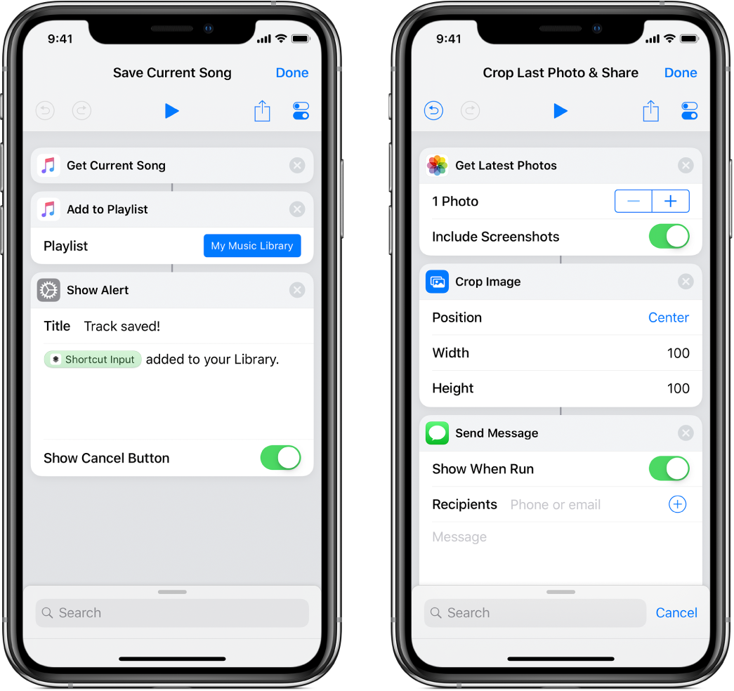 Two shortcuts: Save Current Song and Crop Last Photo & Share.