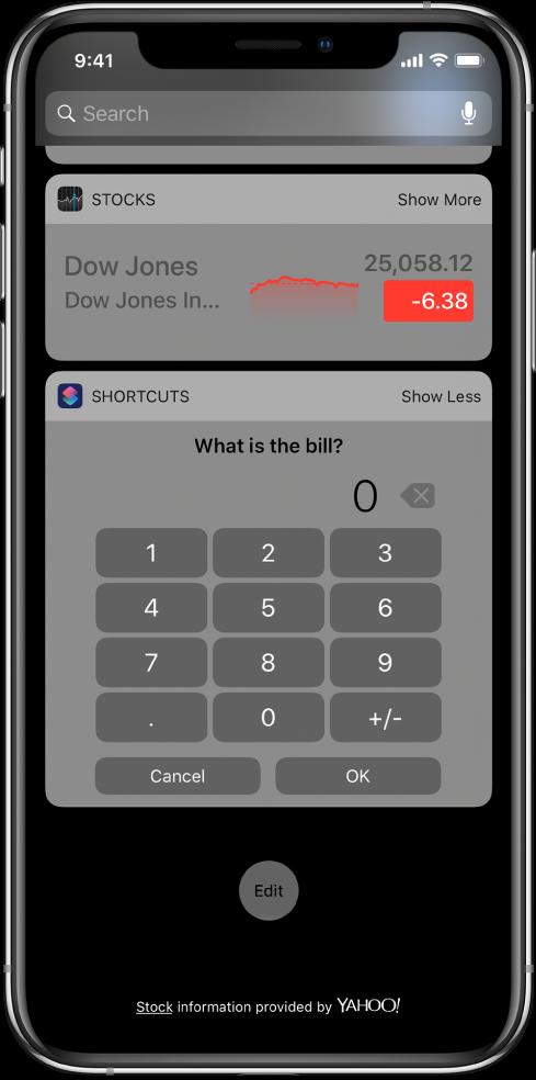 Pavé numérique dans le widget Raccourcis dans l'affichage du jour.