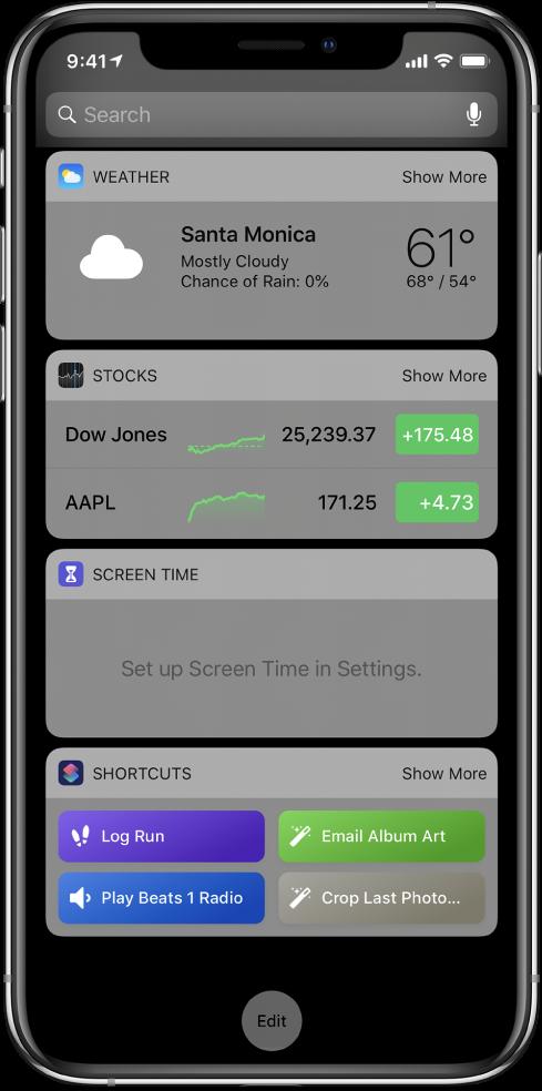 iPhoneの今日の表示の「ショートカット」ウィジェット。