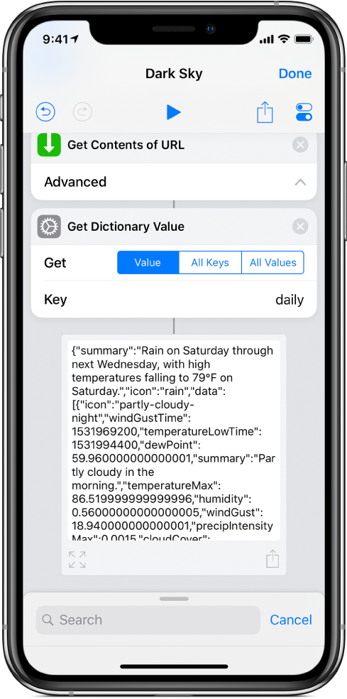 키가 daily로 설정된 단축어 편집기의 '사전 값 가져오기' 동작.