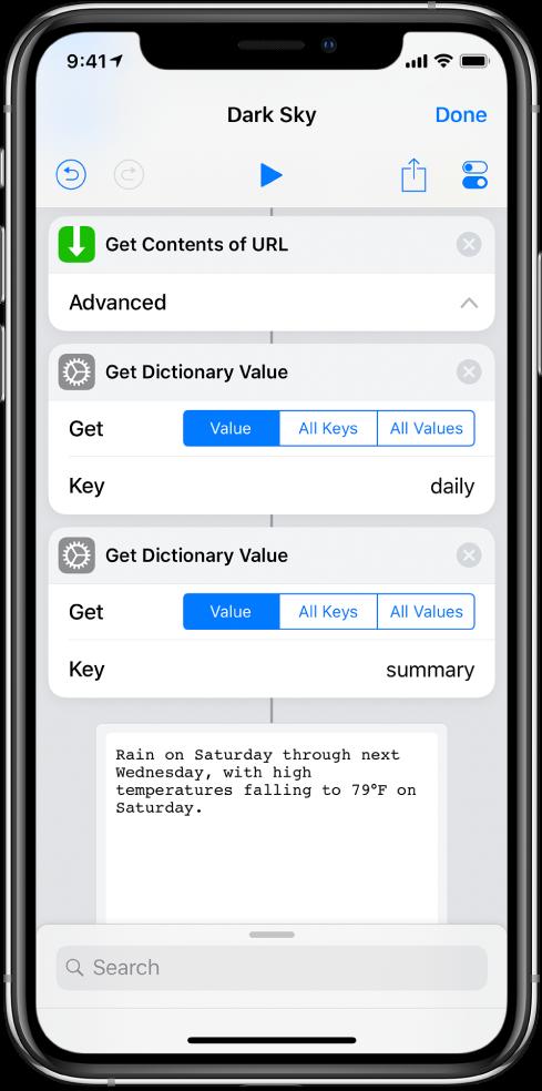 키가 summary로 설정된 단축어 편집기의 '사전 값 가져오기' 동작.