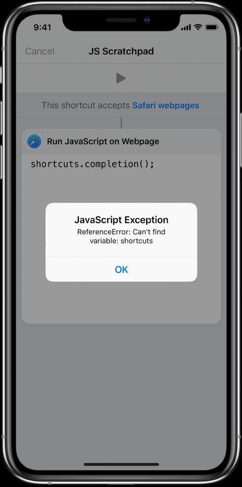 Snarveisredigereren som viser en JavaScript-unntaksfeilmelding.