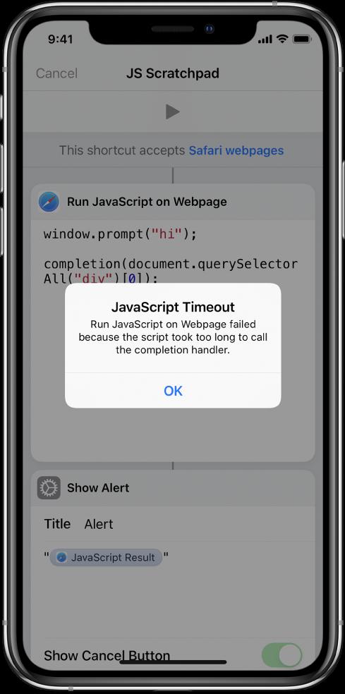 Snarveisredigereren som viser en JavaScript-tidsavbruddfeilmelding.