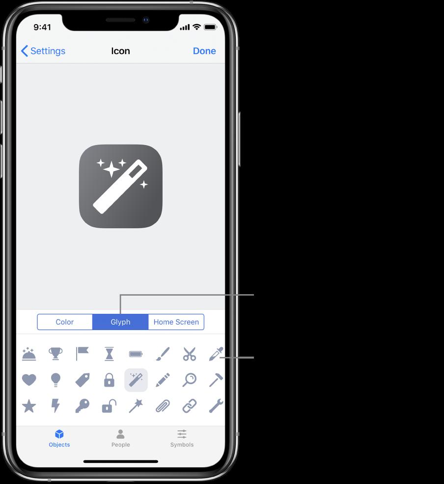 Symbol-skjermen som viser glyffalternativer for snarveier.