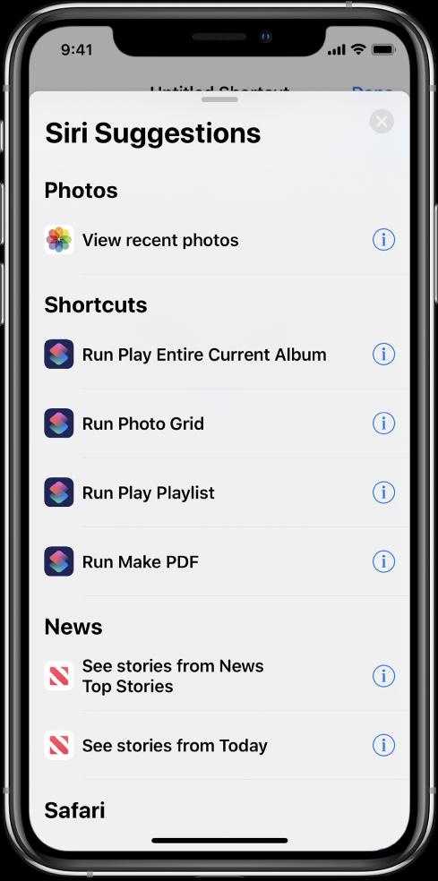 Handlinger foreslått av Siri.