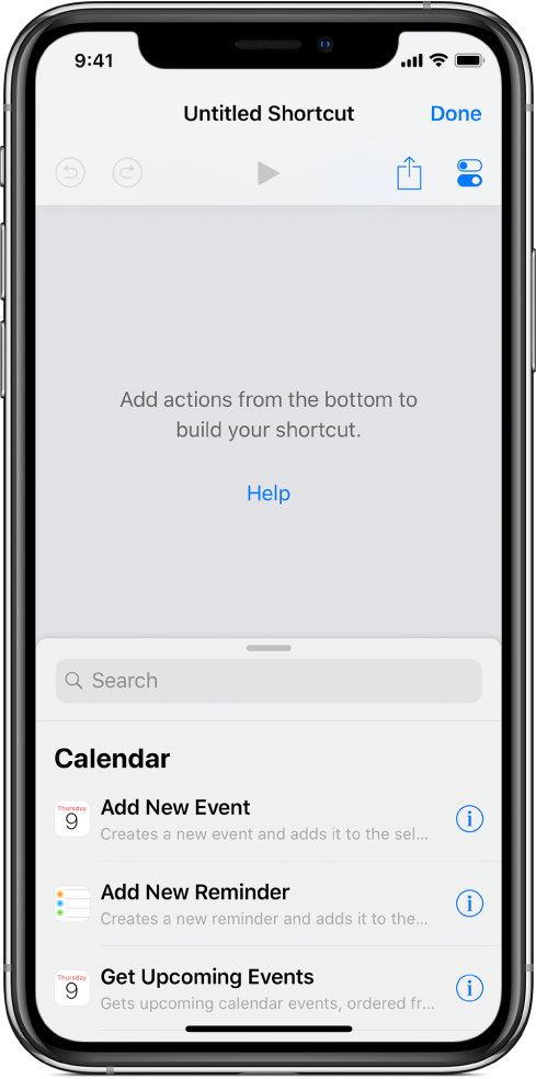 Пустой экран редактора быстрой команды на iPhone.