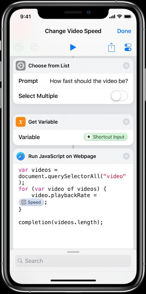 Editor skratiek zobrazujúci akciu Spustiť JavaScript na webovej stránke, ktorá obsahuje magickú premennú.