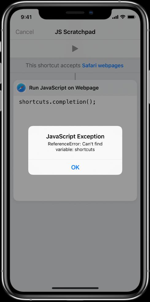 Editor skratiek zobrazujúci chybové hlásenie Výnimka JavaScriptu.