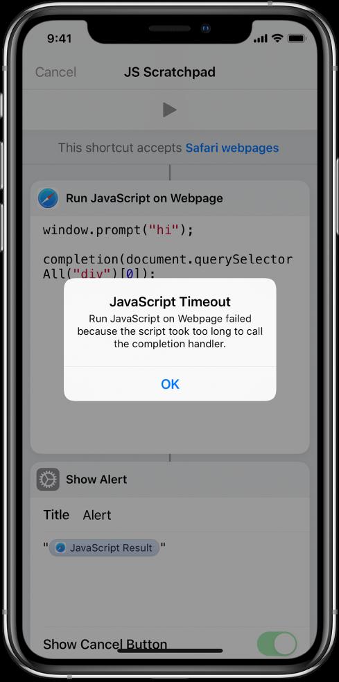 Editor skratiek zobrazujúci chybové hlásenie časového limitu JavaScriptu.