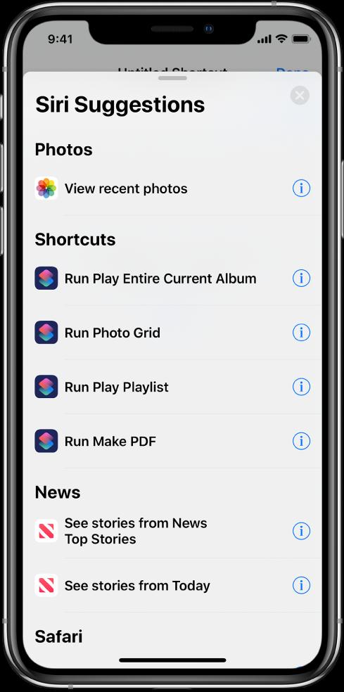Siri tarafından önerilen işlemler.