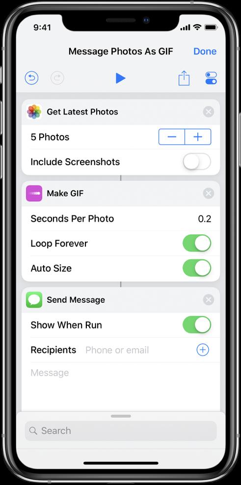 快捷指令编辑器,其中显示用于发送带有照片(制作为动画 GIF)的信息的操作。