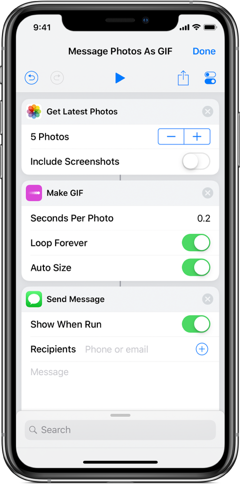 以 GIF 動畫呈現:捷徑編輯器顯示用來傳送訊息和照片的動作。