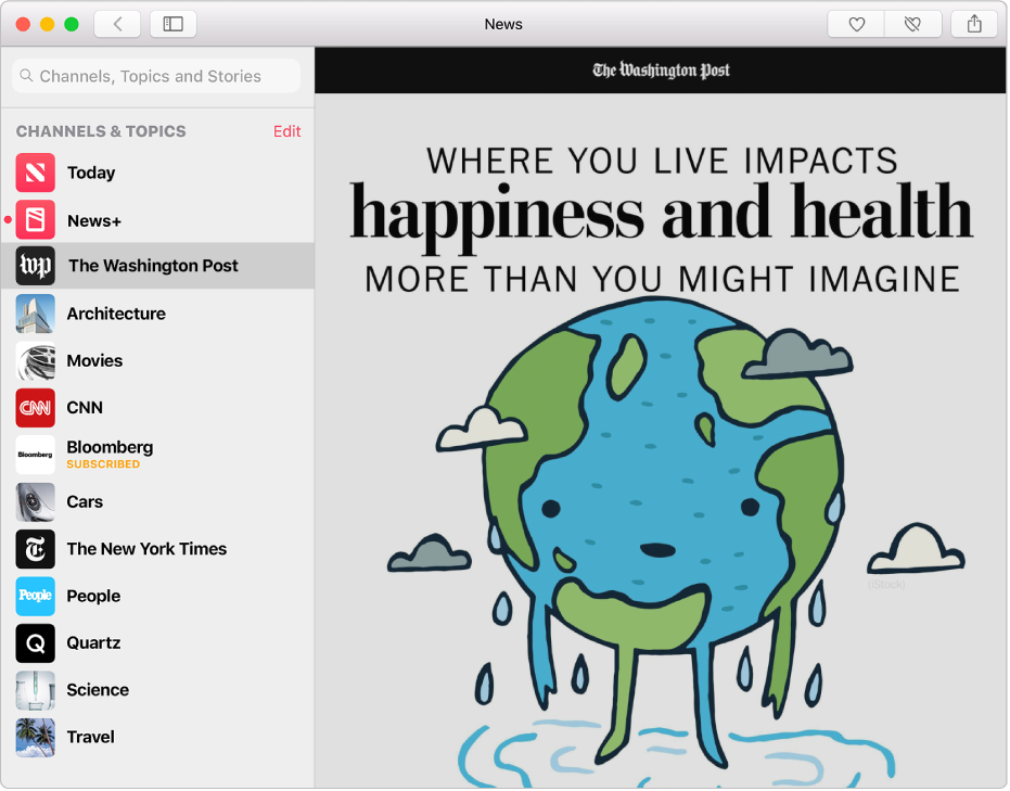 The sidebar in the Apple News window showing followed channels and topics, with a followed channel selected in the sidebar and a story from the channel on the right.