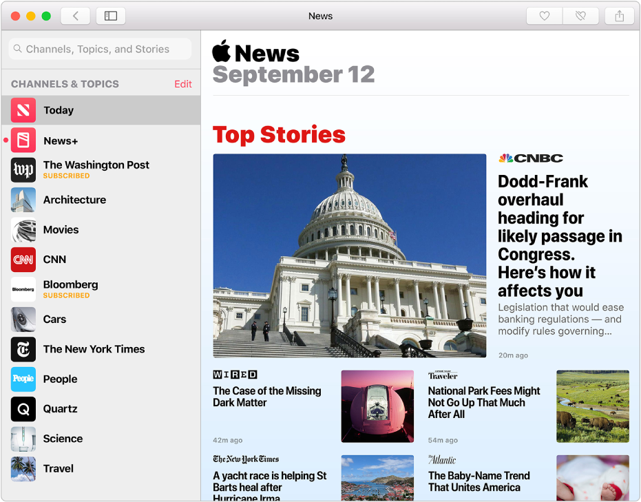 The Apple News window with the sidebar on the left and stories on the right.