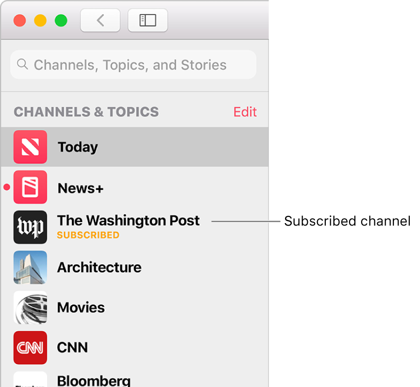The sidebar in the Apple News window showing a subscribed channel.