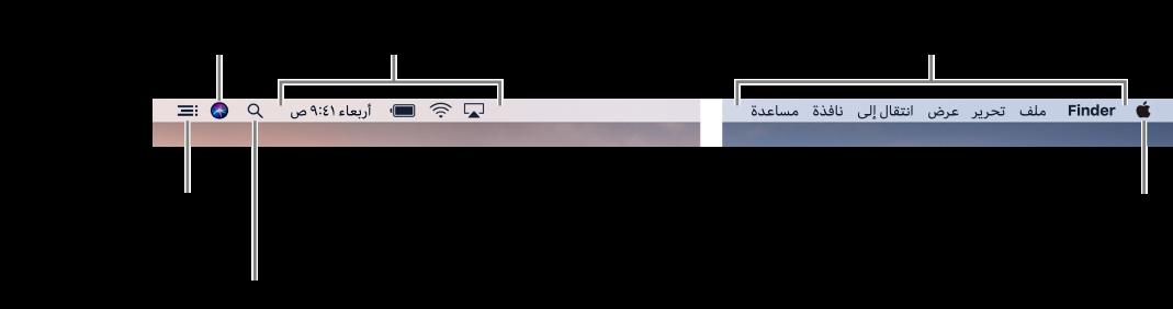 شريط القائمة. على اليسار توجد قائمة Apple وقوائم التطبيقات. على اليمين توجد قوائم الحالات، وأيقونات Spotlight، وSiri، ومركز الإشعارات.