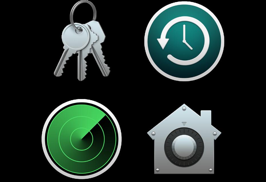 الأيقونات التي تمثل ميزات الأمان التي تساعد على حماية بياناتك وحماية الـMac.