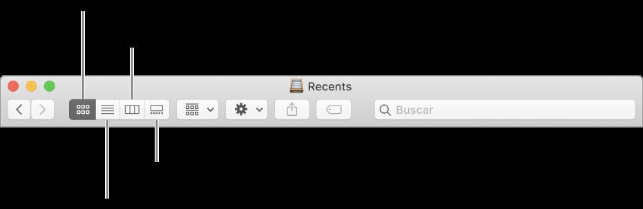 Els botons de visualització en una finestra del Finder.
