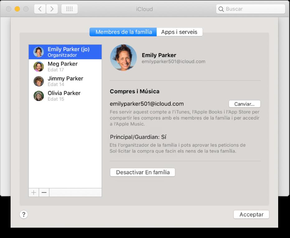 """El tauler """"Membres de la família"""" de les preferències de l'iCloud."""
