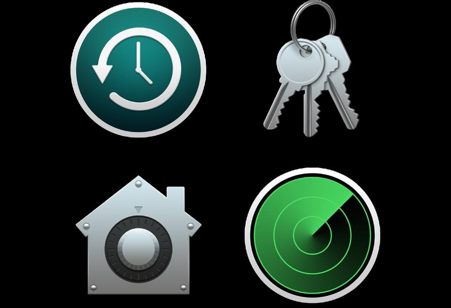 Icones que representen funcions de seguretat que ajuden a protegir les teves dades i el teu Mac.