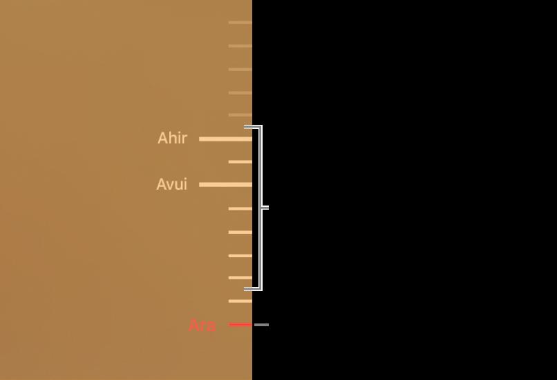 Marques de selecció a la cronologia de les còpies de seguretat. La marca de selecció de color vermell indica la còpia de seguretat que estàs explorant.